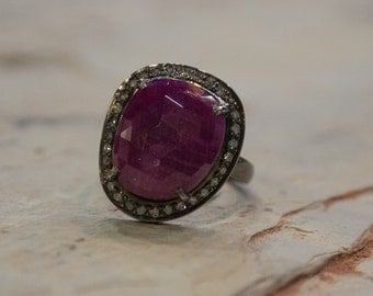 Oxidized Sterling Silver Ring, Magenta Sapphire Diamond Ring, Diamond Ring, Dark Pink Sapphire Jewelry, Large Stone Ring, Halo Set Sapphire.