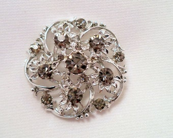 Grey AB Rhinestone Brooch