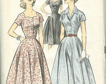 Advance 7994 1950s Vintage Tailored Dress With Full Skirt