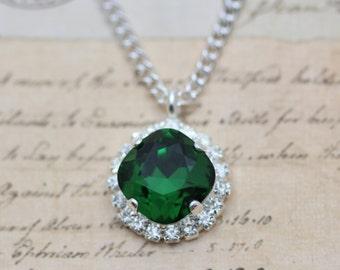 "Crystal Necklace Dark Green Moss Swarovski Crystals Holiday Christmas Bridesmaids Necklace Wedding Crystal Necklace 16"" Silver"