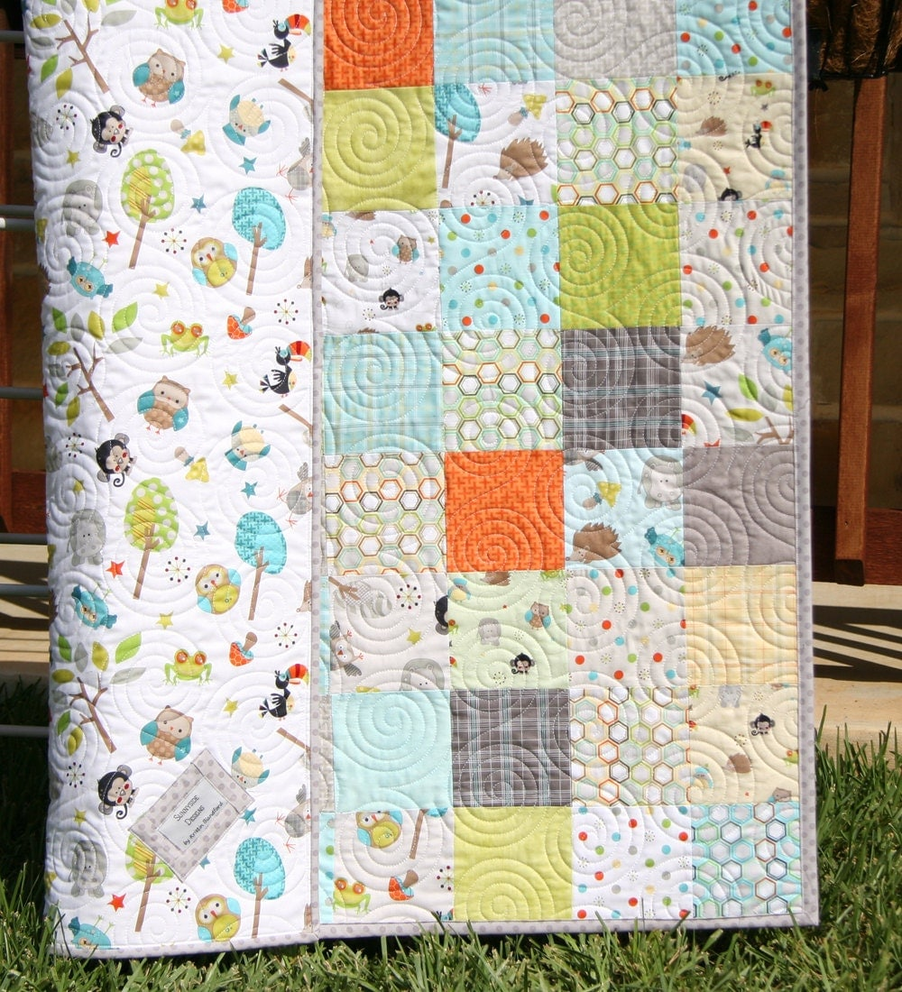 Jungle Quilt Baby Boy Blanket Forest Animals Owls Frogs