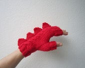 Dinosaur, dragon or monster red fingerless mittens. Very soft pure Australian wool. Medium female adult size