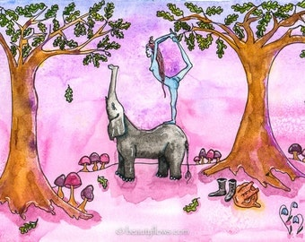 Yogini and Elephant Friend, Yoga in Nature, Natarajasana, King Dancer Pose, Standing Pose, Greeting Card or Photographic art Print