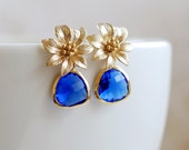 Sapphire Blue Glass Earrings Gold Flower Earrings Gold and Blue Earrings Cobalt Blue Drop Earrings Dangle Earrings Blue Wedding Jewelry