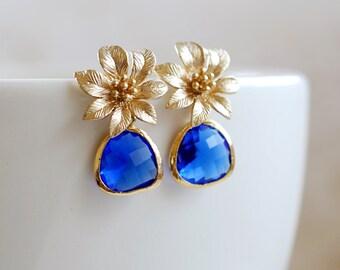 Sapphire Blue Glass Earrings Gold Flower Earrings Gold and Blue Earrings Cobalt Blue Drop Earrings Dangle Earrings Blue Wedding Jewelry