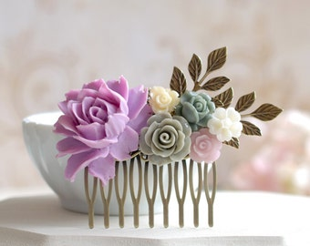 Lavender Lilac Grey Ivory Flower Statement Hair Comb, Lavender Lilac Rose Antiqued Brass Leaf Hair Comb, Wedding Bridal Hair Accessory