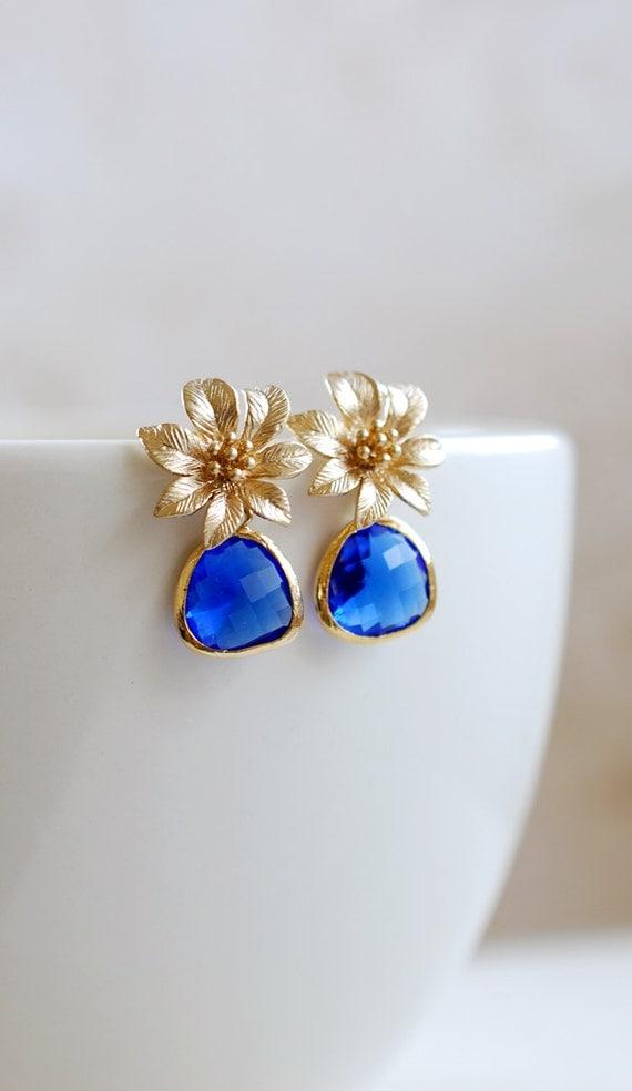 Gold Flower Blue Sapphire Glass Post Earrings. Blue Teardrop