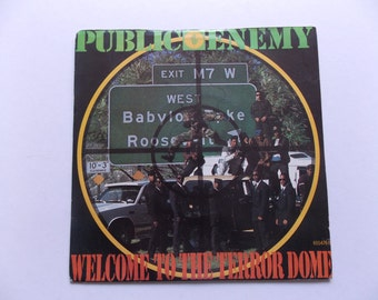 "1989 - Public Enemy - Welcome To The Terror Dome - Def Jam Rare Picture Sleeve 7"" single - 45 Vinyl Record - 80's Hip Hop"