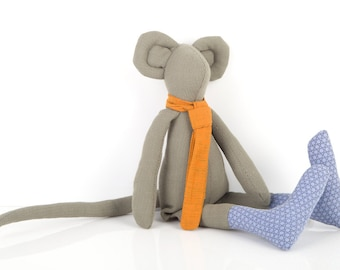 Stuffed animal toy- Plush olive gray Minimalist urban Mouse , with Golden Orange scarf & dotted blue socks - Eco Friendly