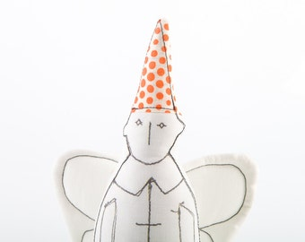 Soft sculpture  - Black & White guardian angel With white wings Wearing White with orange polka dots pointed hat - handmade fabric doll