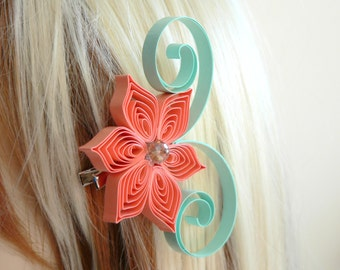 Coral and Mint Wedding Hair Accessory, Bridesmaid Gift, Mint Wedding, Coral Wedding