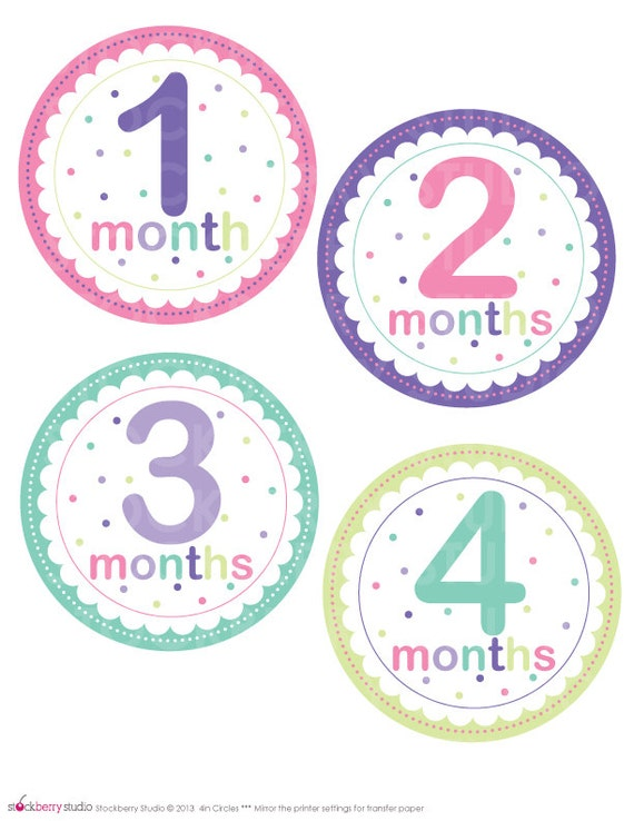 18 Month Stickers: Baby Girl Monthly Stickers Printable