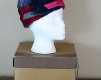 H.C. Prange Company Millinery Feather Hat in Original Box - Bold Colors