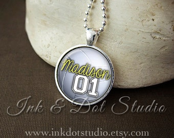 Personalized Volleyball Necklace, Custom Volleyball Pendant Necklace, Volleyball Team Pendant, Volleyball Mom