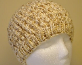 Men's or Women's Chunky Beanie Hat Hand-Knit in Cream Tan