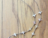 Vintage 60's Handmade Sterling Silver Shell Bird Fetish Native American Necklace