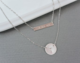 Personalized Sterling SILVER Bar Necklace Initial Disc Necklace, Nameplate Necklace, Initial Personalized Jewelry, Layered Necklace Set
