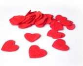 Red felt hearts, mini heart confetti perfect for valentines, weddings, party decoration and general crafts.