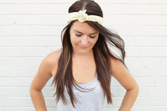 Twist Hair Scarf - Screenprinted Wire Headband - Gold Triangles on Cream
