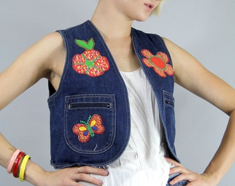 Vest Vintage 70s Novelty Butterfly Flowers GIRL PATCHWORK HIPPIE Vest  //  TatiTati Style on Etsy
