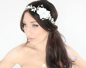 bridal headband ,White Flower Crown, Wedding Headpiece, Bridal Tiara, Hair Flower - HOPE - by DeLoop