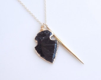 Black Obsidian Arrowhead Spike Necklace - OOAK Jewelry