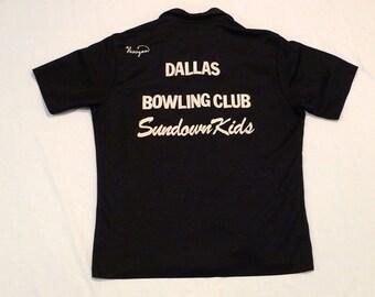 Dallas Bowling Shirt Vintage Angeltown Shirt Personalized Curtis Henigan Mens Large Medium Rockabilly Black and White Bowling Club