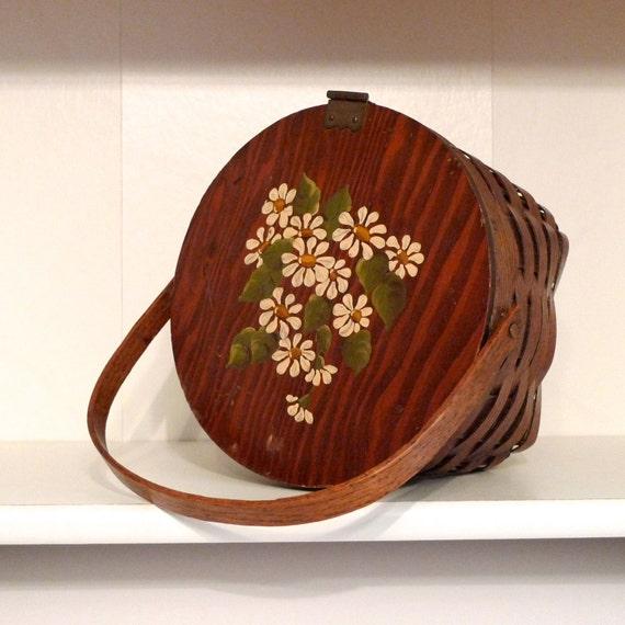 Daisy Basket Bag Vintage Woven Wood Picnic Basket Purse Hand Painted Flowers 70s Vintage Handbag  FREE US SHIPPING