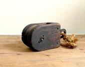 Vintage Antique Wood Pulley