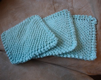 RTS- Set of Three Mint Green Hand Knit 100% Cotton  Baby Boy Baby Girl Bath Washcloths- Great for Bathtime and Soft on Baby's Skin