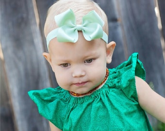 Baby Bow, Baby Headband, Set of 8 MEDIUM Loopy Headband,Bow, ANY COLOR,  100 Colors, Boutique Headband, Kinley Kate, Green bow, Mint Bow