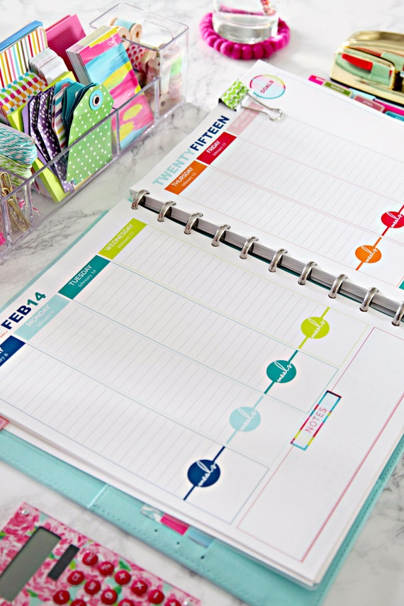 2015 Daily Planner Printable Pages - INSTANT DOWNLOAD PDF - With Meal Planning