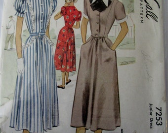 McCall 7253 Teen Girl Womens 40s Dress Sewing Pattern Bust 28