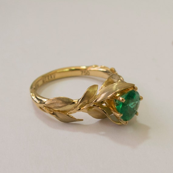 Emerald Gemstone Engagement Rings Leaves Engagement Ring No 7 18K Gold and