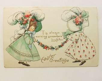 Antique Easter postcard 2 little girls wearing hats or bonnets with Longefellow quote