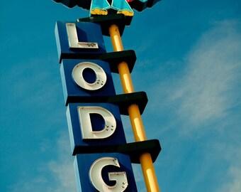 Thunderbird Lodge Vintage Neon Sign - Retro Home Decor - Retro Wall Art - Riverside Motel - Graphic Office Art - Fine Art Photography