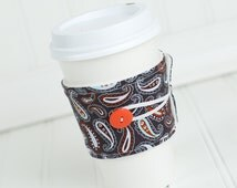 Reusable Coffee Cup Sleeve  Blue and Orange Paisley, Fabric Coffee Cozy, Unisex Gift Idea, Coworker Gift