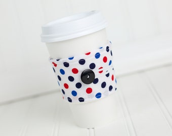 Coffee Sleeve Cozy Red White and Blue Polka Dot Print Unisex Reusable