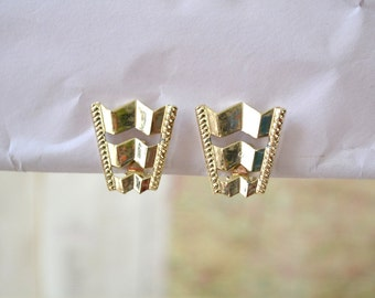 Shiny Gold Chevron Clip Earrings