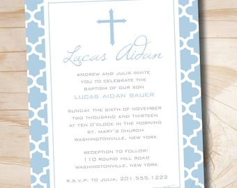 MODERN BAPTISM Custom Baptism Invitation / Christening Invitation / Communion Invitation - Printable digital file or printed invitations