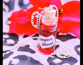 Vampire Blood Necklace, 2ml Glass vial necklace With Chain By: Tranquilityy