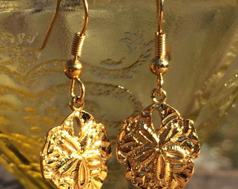 Pair of Vintage Sand Dollar Gold & Sterling Silver Dangle Earrings from the 1950's - Ocean Surfing, Sea, Seaside Beach Jewelry Sanddollar