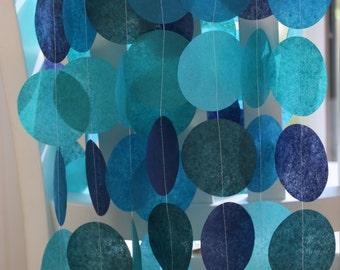 Tissue Paper Garland, Party Garland, Birthday Garland, Wedding Garland, Blue Garland- Rich Blues