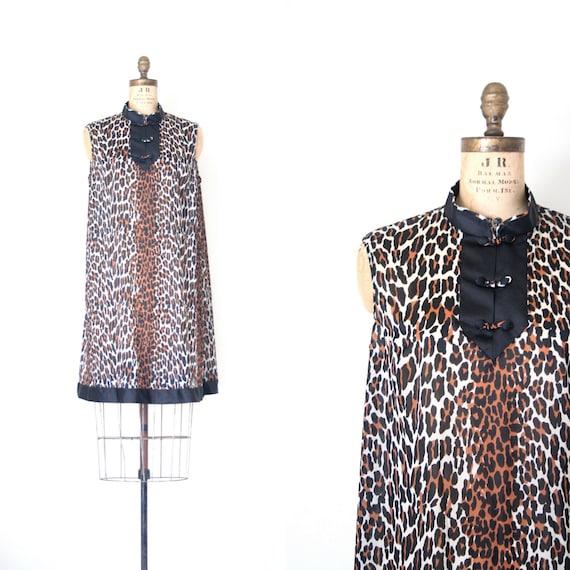 vintage 60's nightie - sleeveless dress / Leopard Print - animal / retro lingerie