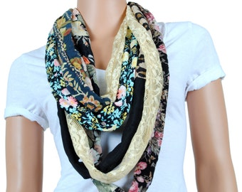 Scarf - Infinity Scarf - Womens Chunky Multicolored Printed Scarf
