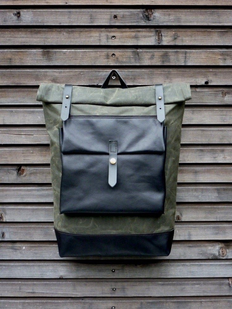 waxed canvas rucksack backpack with roll up top by. Black Bedroom Furniture Sets. Home Design Ideas