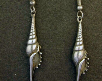 Sterling Silver Tibia Shell Earrings on Heavy Sterling Silver French Wires