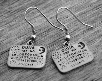Silver Ouija Board Earrings Halloween Jewelry Halloween Earrings Silver Ouija Board Jewelry Gothic Goth Horror Witchcraft Occult Witch Craft