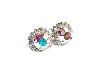Custom Color ./ Rose Aurora Borealis AB  8mm Swarovski Crystal Pave Rhinestone Round Post Earrings
