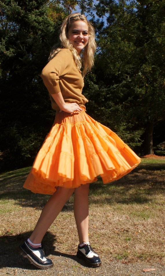 1950 S Orange Crinoline Petticoat Skirt